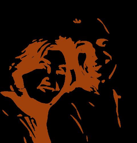 Zeichnung, Scherenschnittgrafik Paar lehnt vertraut die Köpfa aneinander