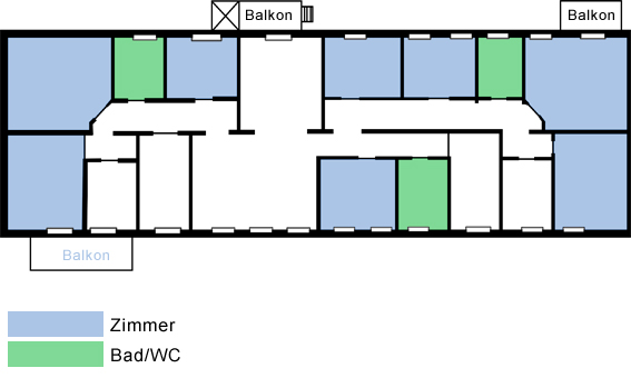 Grundriss der Demenzwohngruppe und Demenzwohngemeinschaft Pappelweg Castrop-Rauxel