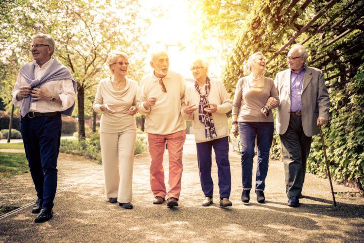 Gruppe von alten Männern und Frauen gehen spazieren und unterhalten sich