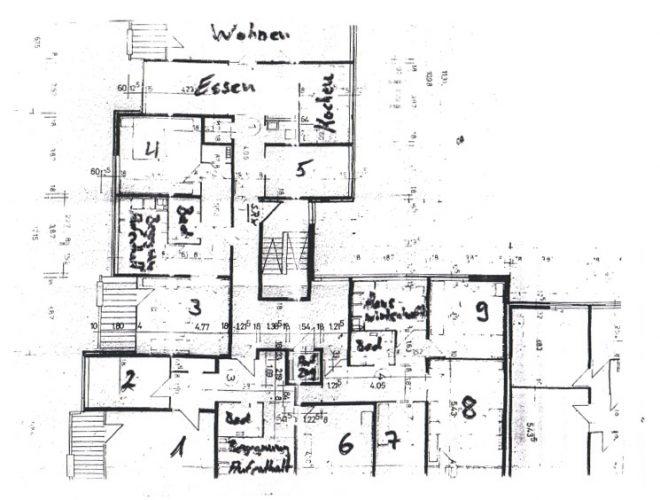 Grundriss 3. Obergeschoss in der Demenzwohngruppe und Demenzwohngemeinschaft Dortmund Speckstr